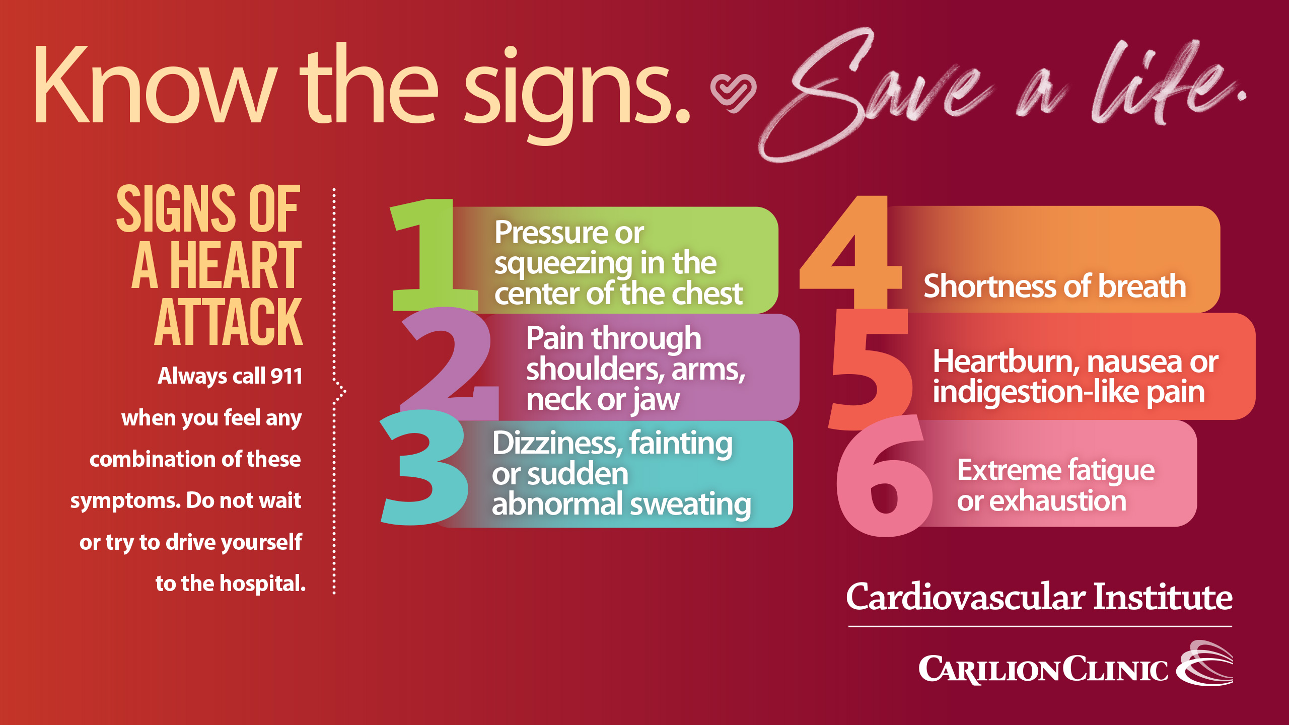 image listing the signs of a heart attack in bright colors on red background
