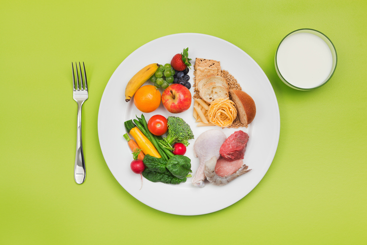 MyPlate illustration showing a plate half-filled with vegetables, one-quarter filled with meat and one-quarter filled with grains, with a glass of milk on the side.