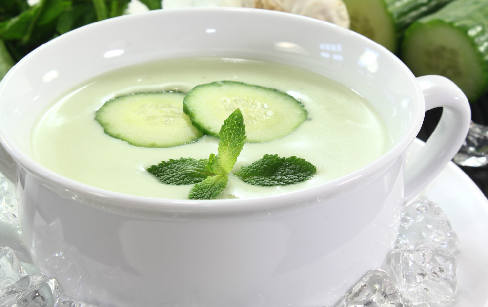 Cup of chilled cucumber soup.