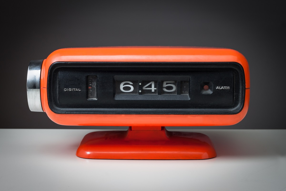 retro orange clock radio