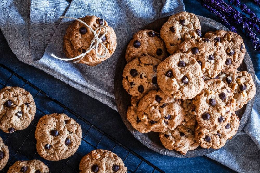 A platter of date-nut chocolate chip cookies.