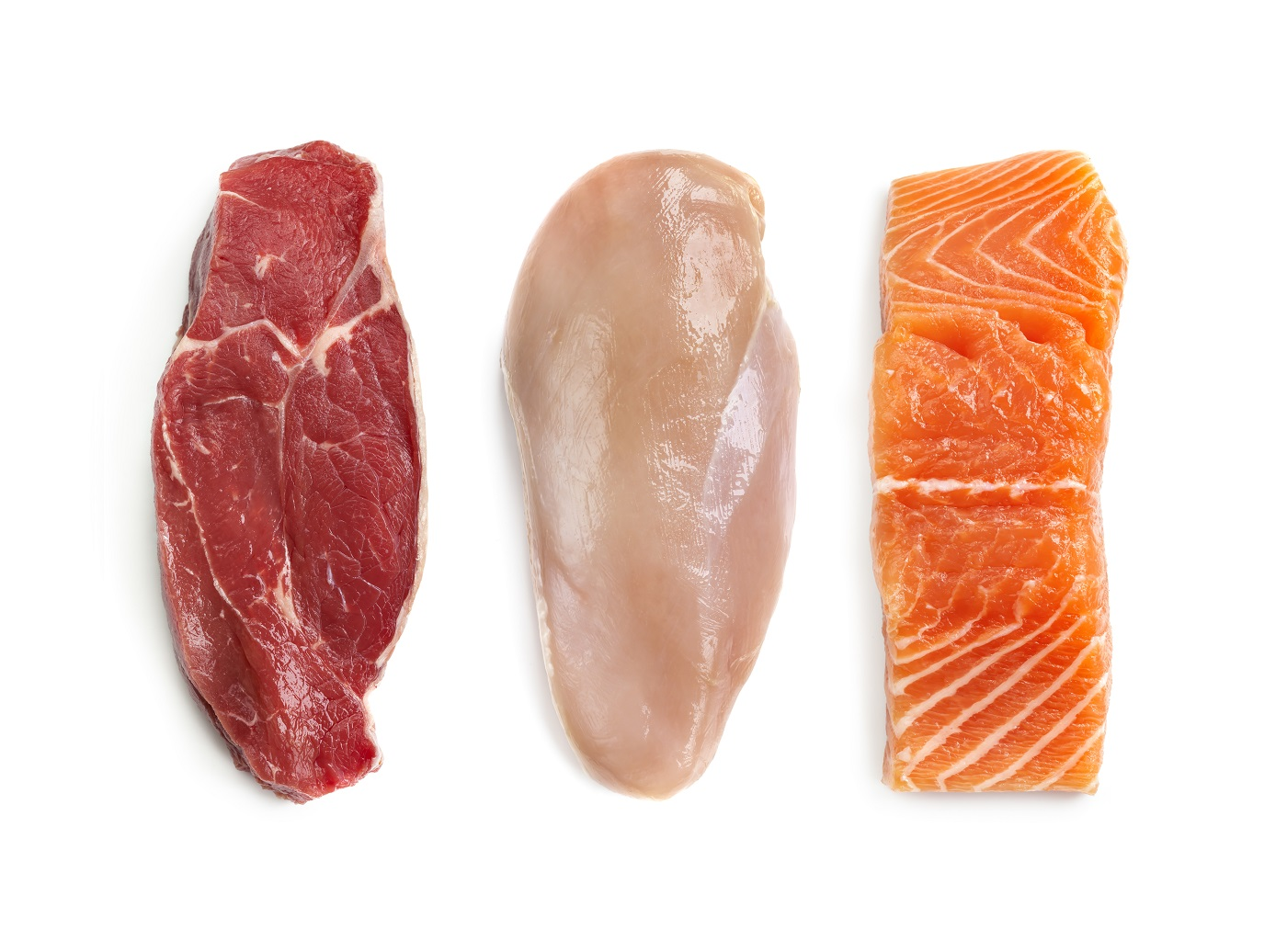 raw beef chicken and salmon side by side showing healthy cuts