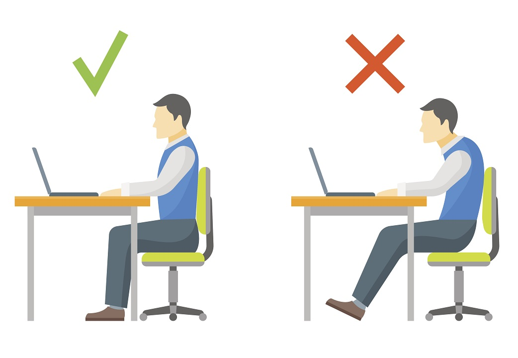 illustration showing man at desk using both improper and proper posture