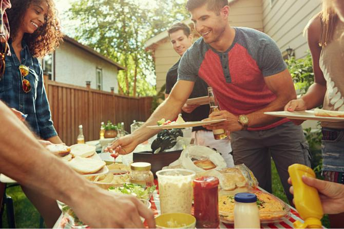 group of friends enjoying cookout