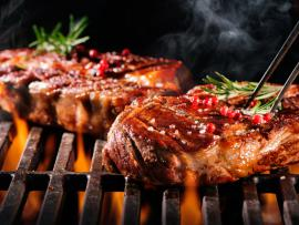 steak on a hot grill