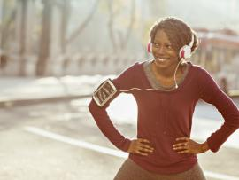African american woman in workout gear