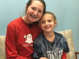Aza Petty with her sister Skyler at Carilion Clinic's Cleft Palate Clinic