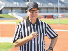 Doug Moore in his referee uniform before a game