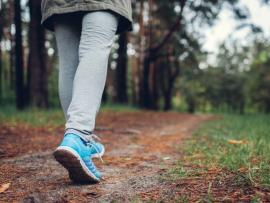 Close up of woman's sneakers as she walks on a trail in the spring.