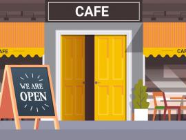 """Illustrated image of outdoor seating at cafe with a """"We Are Open"""" sidewalk chalkboard."""