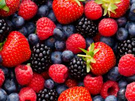 delicious blueberries, raspberries, strawberries and blackberries