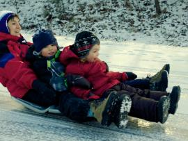 A mother sleds with her kids.