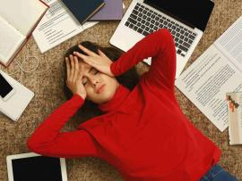 Many teens feel stress about their school work.