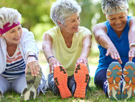 Older women enjoy sit-ups in the park.