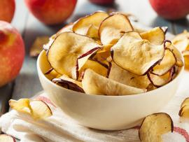 Bowl of baked apple chips