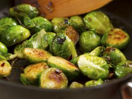 browned Brussels sprouts in pan