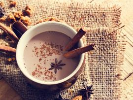 chai hot chocolate with anise and cinnamon