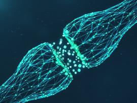illustration of brain neurons connecting on black background
