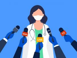 illustration of medical expert giving a news conference with multiple microphones