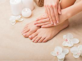 woman who just treated her feet to a pedicure at spa