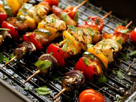 marinated kabob on the grill