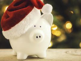 piggy bank with a santa hat on it