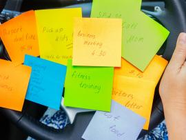many sticky notes multitasking