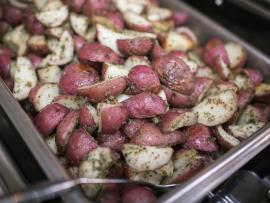 pan of roasted red potatoes