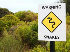 sign warning hikers to beware of snakes in area