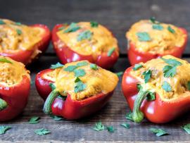 cauliflower quinoa buffalo stuffed peppers
