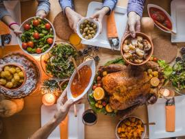 top down view of laden thanksgiving table