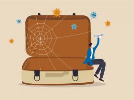 illustration of suitcase with cobwebs showing travel has been canceled by COVID