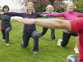 group of women doing lunges