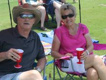 Bucky and Kay Moyer outside at a picnic