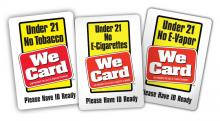 three under-21 we-card decals indicating legal age for tobacco in Virginia