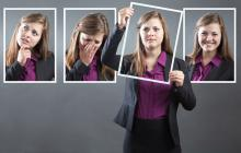 woman displaying various emotions happy sad concerned