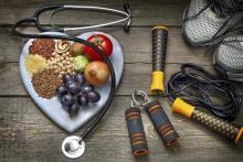 healthy food on a plate and running shoes and a jump rope