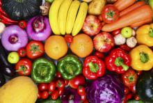 colorful variety of healthy fruits and veggies