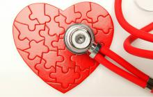 heart puzzle with a red stethoscope