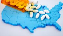 picture of United States with opioid pills spread across the picture